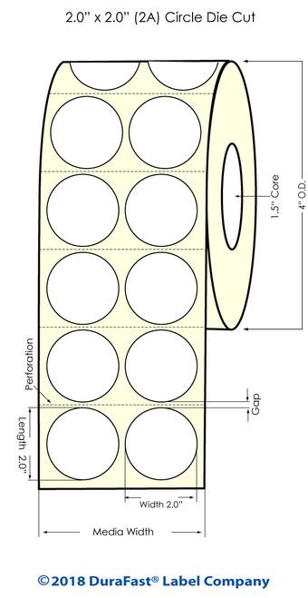 "TM-C3500 2"" Circle (2A) High Gloss Paper Inkjet Labels 1120/Roll"