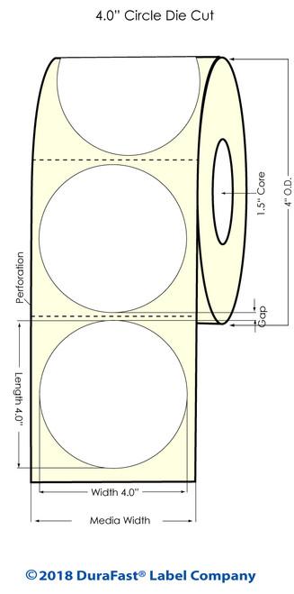 "TM-C3500 4"" Circle (1A) Matte Paper Inkjet Labels 290/Roll"