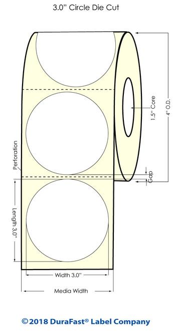 "TM-C3500 3"" Circle (1A) Matte Paper Inkjet Labels 380/Roll"