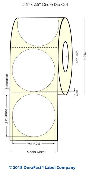 "TM-C3500 2.5"" Circle (1A) Matte Paper Inkjet Labels 450/Roll"