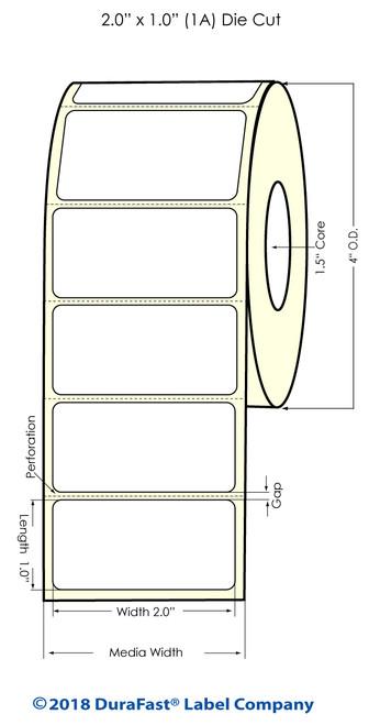 """TM-C3500 2"""" x 1"""" (1A) Matte BOPP Inkjet Labels 1070/Roll"""
