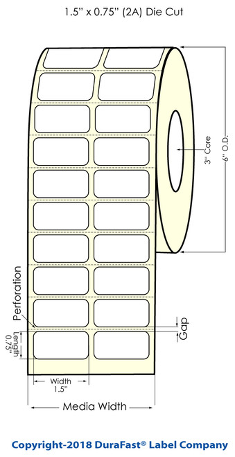 """LX810 1.5""""x0.75"""" White Matte BOPP Labels, 2750 Labels"""