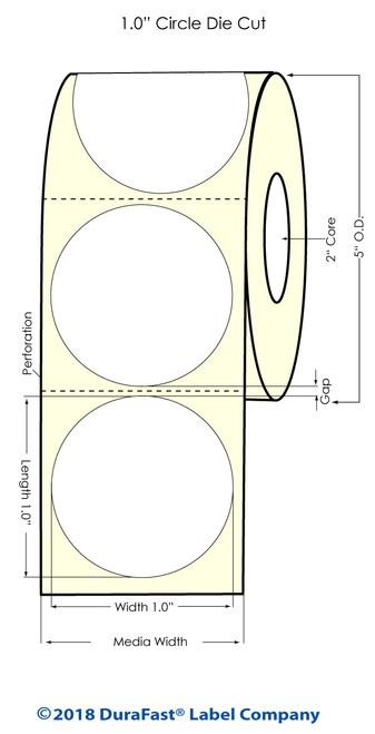"LX500 1"" Circle (1 UP) Matte Paper Inkjet Labels 1500/Roll"