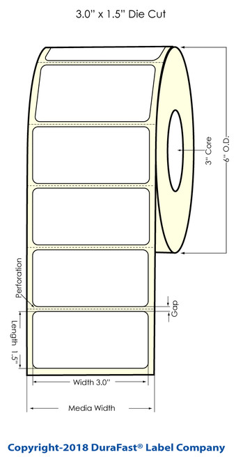 "LX900 3"" x 1.5"" Glossy BOPP Inkjet Labels 1500/Roll"