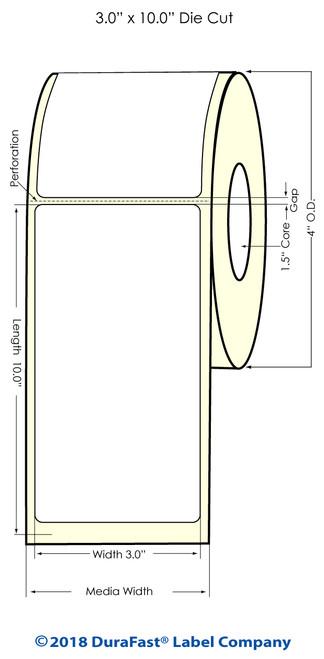 "TM-C3500 3"" x 10"" (1A) High Gloss Paper Inkjet Labels 110/Roll"