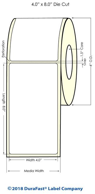 "TM-C3500 4"" x 8"" (1A) High Gloss Paper Inkjet Labels 140/Roll"