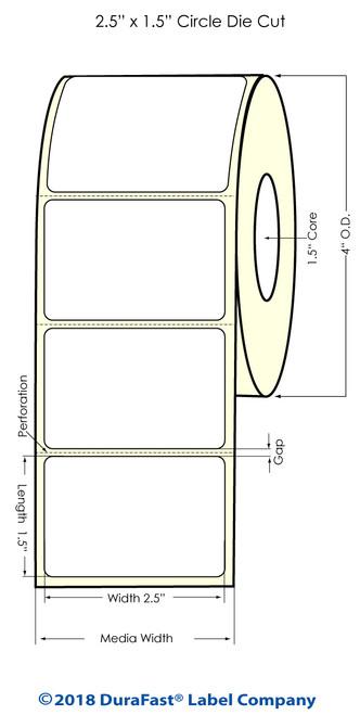 "TM-C3500 2.5"" x 1.5"" High Gloss Paper Inkjet Labels 730/Roll"