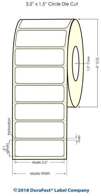 "TM-C3500 3.5"" x 1.5"" High Gloss Paper Inkjet Labels 730/Roll"