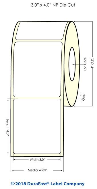 "TM-C3500 3"" x 4"" NP (1A) High Gloss Paper Inkjet Labels 290/Roll"