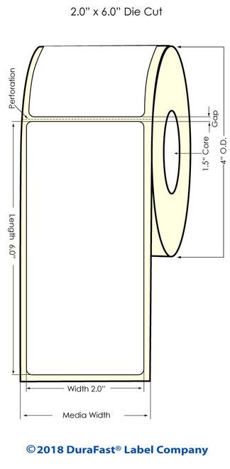 """TM-C3500 2"""" x 6"""" (1A) Matte BOPP Inkjet Labels 190/Roll"""
