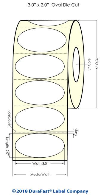 "LX900 3"" x 2"" OVAL High Gloss Paper Inkjet Labels 1100/Roll"