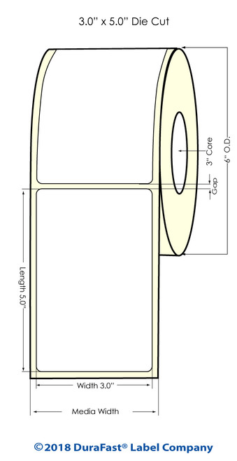 "LX900 3"" x 5"" NP Matte Paper Inkjet Labels 500/Roll"
