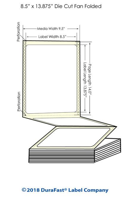 "GP-C831 8.5"" x 13.875"" High Gloss Paper Inkjet Labels 850/Carton"