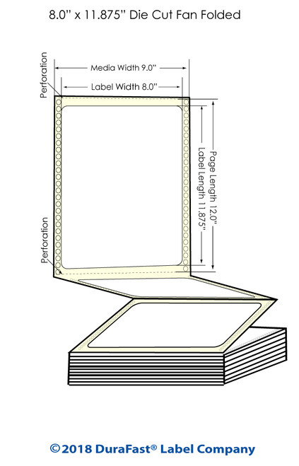 "GP-C831 8"" x 11.875"" High Gloss Paper Inkjet Labels 850/Carton"