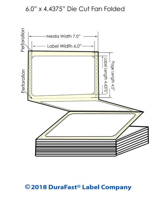 "GP-C831 6"" x 4.4375"" High Gloss Paper Inkjet Labels 1700/Carton"