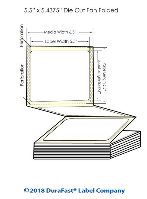 "GP-C831 5.5"" x 5.4375"" High Gloss Paper Inkjet Labels 1700/Carton"
