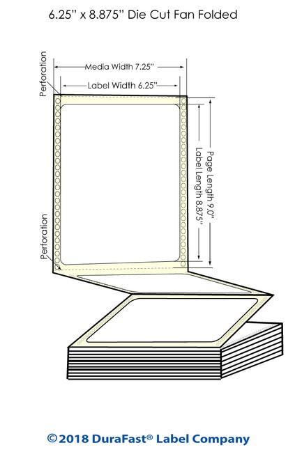 "GP-C831 6.26"" x 8.875"" High Gloss Paper Inkjet Labels 850/Carton"