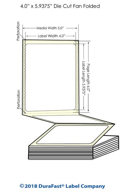 "GP-C831 4"" x 5.9375"" High Gloss Paper Inkjet Labels 1700/Carton"