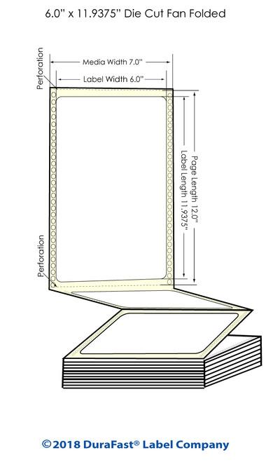 "GP-C831 6"" x 11.9375"" High Gloss Paper Inkjet Labels 850/Carton"