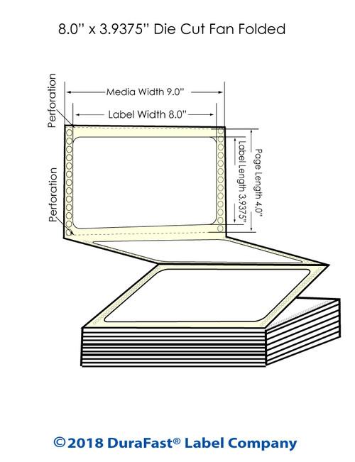 "GP-C831 8"" x 3.9375"" High Gloss Paper Inkjet Labels 2550/Carton"