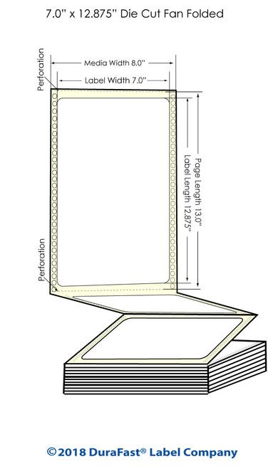 "GP-C831 7"" x 12.875"" High Gloss Paper Inkjet Labels 850/Carton"