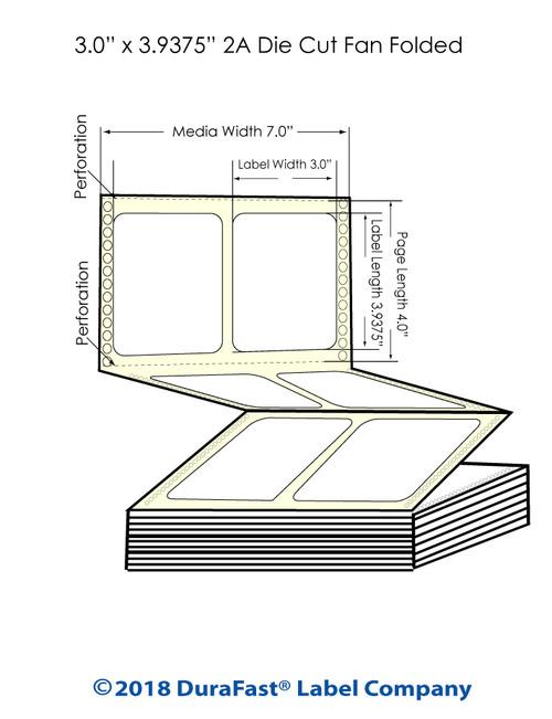 "GP-C831 3"" x 3.9375"" High Gloss Paper Inkjet Labels 3000/Carton"