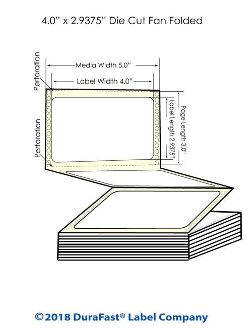 "GP-C831 4"" x 2.9375"" High Gloss Paper Inkjet Labels 3400/Carton"