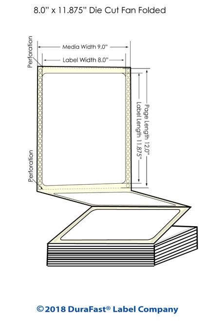 "GP-C831 8"" x 11.875"" Matte Paper Inkjet Labels 850/Carton"