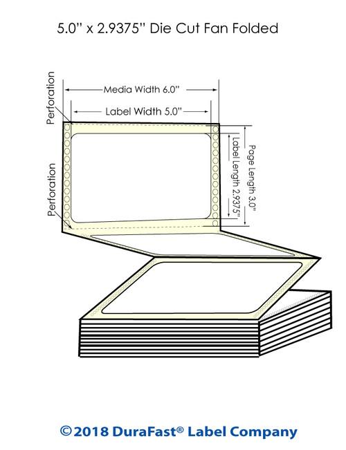 "GP-C831 5"" x 2.9375"""" Matte Paper Inkjet Labels 3400/Carton"