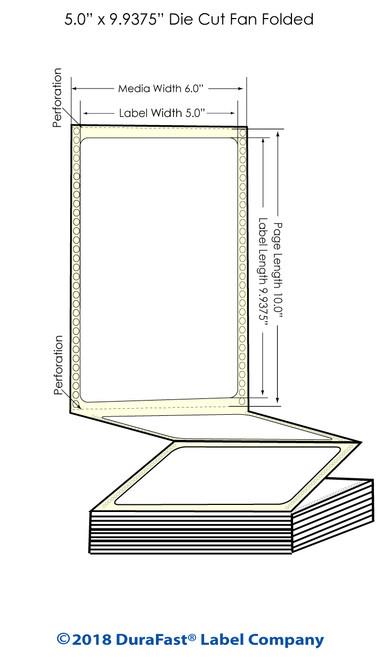 "GP-C831 5"" x 9.9375"" Matte Paper Inkjet Labels 850/Carton"