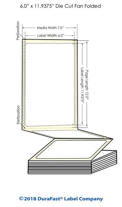 "GP-C831 6"" x 11.9375"" Matte Paper Inkjet Labels 850/Carton"