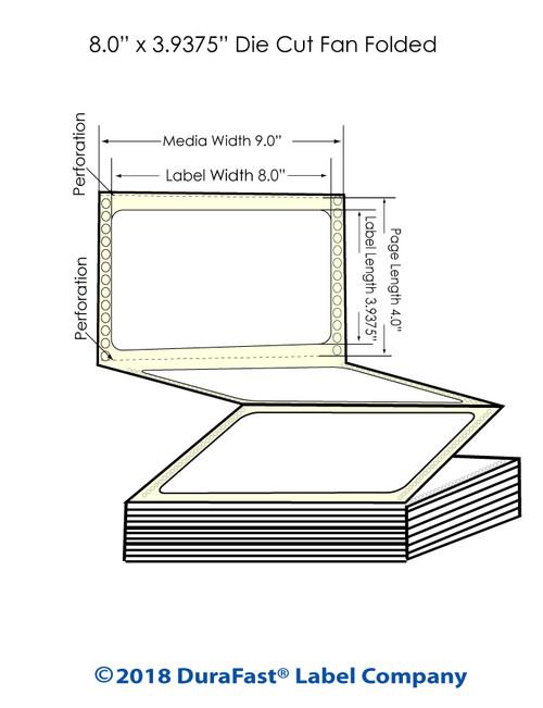 "GP-C831 8"" x 3.9375"" Matte Paper Inkjet Labels 2,550/Carton"