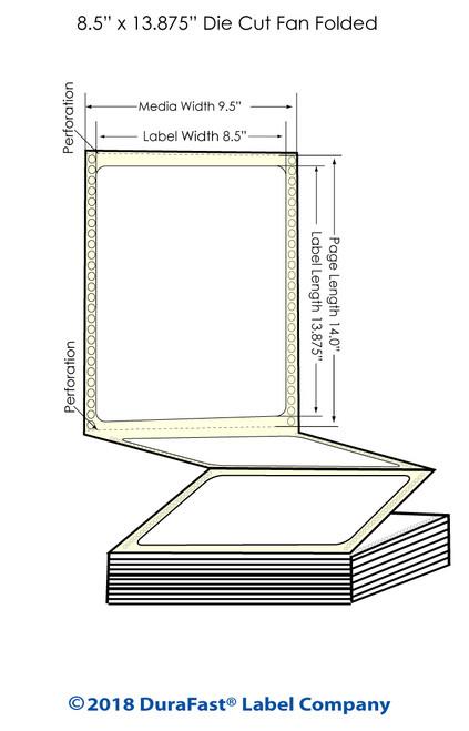 "GP-C831 8.5"" x 13.875"" Chemical Inkjet Labels 600/Carton"
