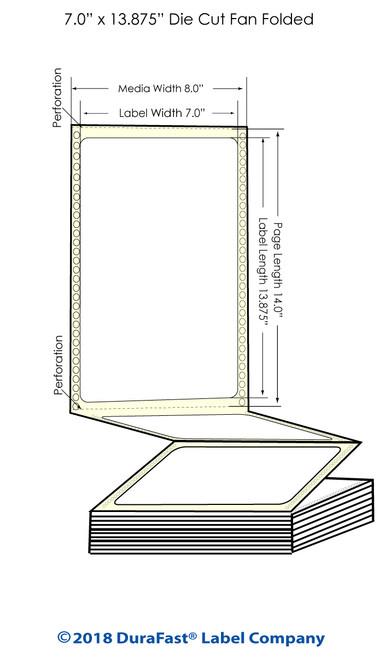 "GP-C831 7"" x 13.875"" Chemical Inkjet Labels 600/Carton"