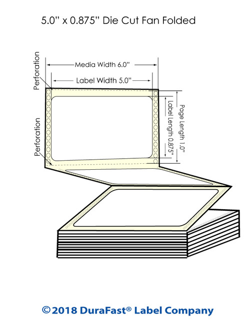 "GP-C831 5"" x 0.875"" Chemical Inkjet Labels 7200/Carton"