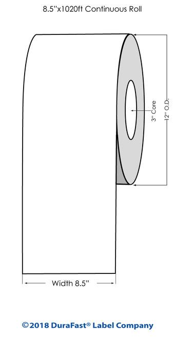 "Primera CX1200 White Matte Vinyl Label Roll, 8.5"" x 1250 feet"