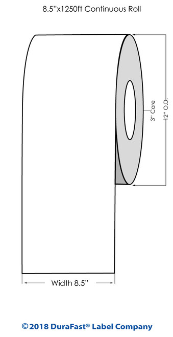 "Primera CX1200 Premium White Gloss Polyester Label Roll, 8.5"" x 1250 feet"