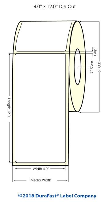 "LX900 4"" x 12"" Matte Paper Inkjet Labels 200/Roll"