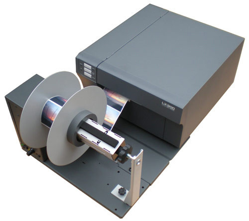 LX900 shown with the label rewinder so that you can print roll to roll