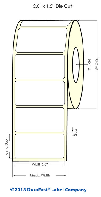 "TM-C7500G 2"" x 1.5"" NP Glossy BOPP Inkjet Labels 3500/Roll 8"" OD"