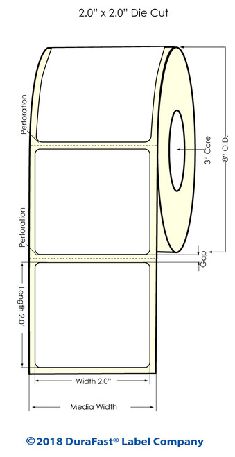 "TM-C7500G 2"" x 2"" NP Glossy BOPP Inkjet Labels 3000/Roll 8"" OD"