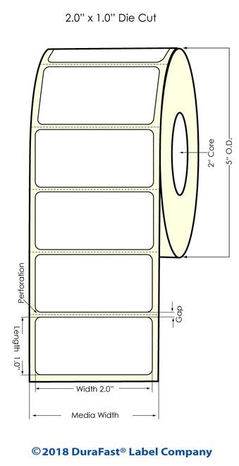 "LX500 2"" x 1"" High Gloss Inkjet Labels 1700/Roll"