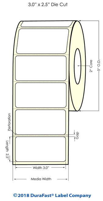 "LX500 3"" x 2.5"" High Gloss Inkjet Labels 700/Roll"