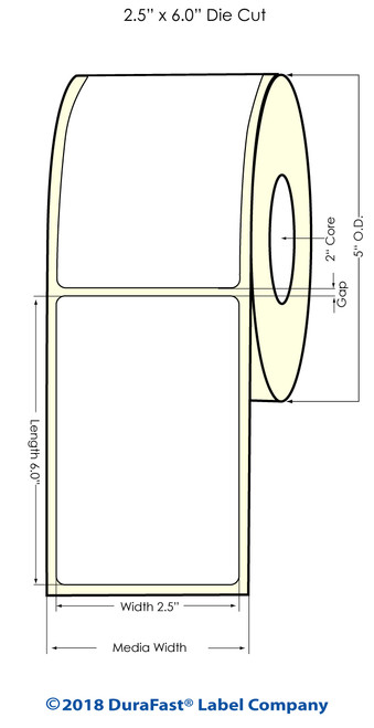 "LX500 2.5""x 6"" NP High Gloss Inkjet Labels 300/Roll"