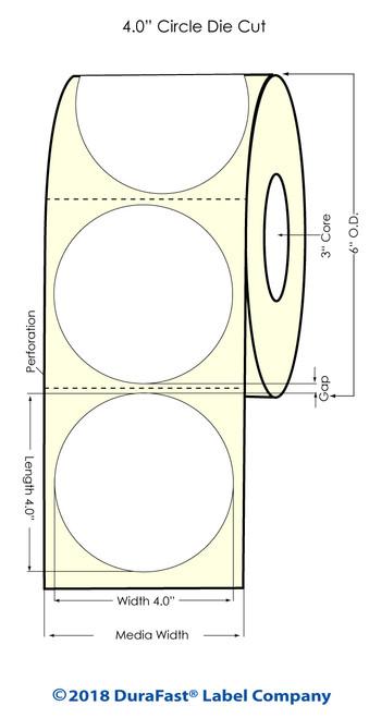 "LX900 4"" Circle High Gloss Paper Inkjet Labels 600/Roll"