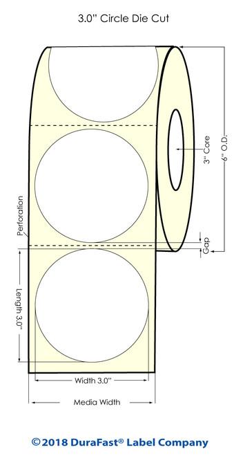 "LX900 3"" Circle High Gloss Paper Inkjet Labels 800/Roll"