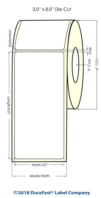"LX900 3"" x 8"" High Gloss Paper Inkjet Labels 300/Roll"