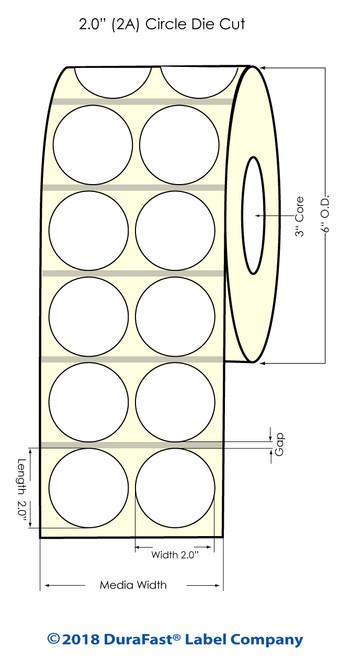 "TM-C7500 2"" Circle High Gloss Paper Inkjet Labels 960/Roll"