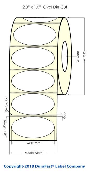 "LX2000 2"" x 1"" Oval High Gloss Paper Inkjet Labels 2200/Roll"
