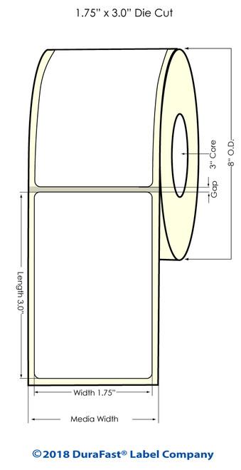 "TM-C7500 1.75""x3"" NP High Gloss Paper Inkjet Labels 1800/Roll"